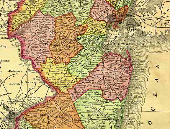Map Of Central New Jersey 1895