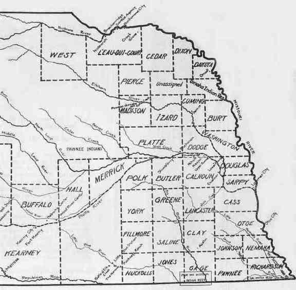 Eastern Nebraska County Map of 1859