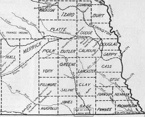 Southeastern Nebraska County Map Of 1859